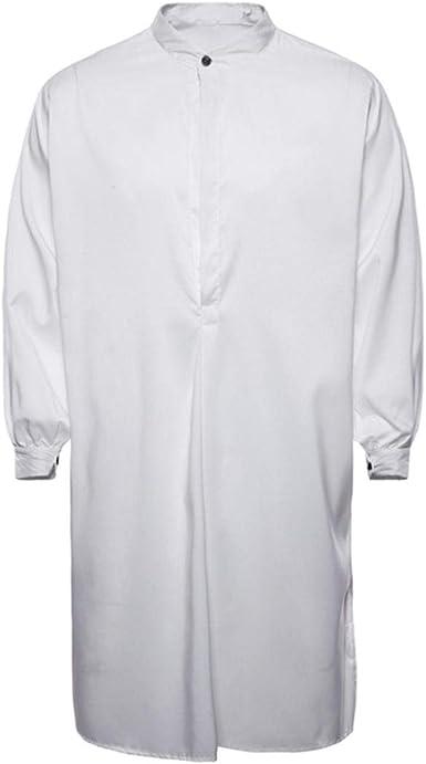 Yvelands Musulmanes Camisas de Los Hombres apuestos Moda Casual Musulmán Thobe islámico árabe Ropa de Manga Larga Camisa Top Blusa Ropa Vestido de Verano otoñ: Amazon.es: Ropa y accesorios