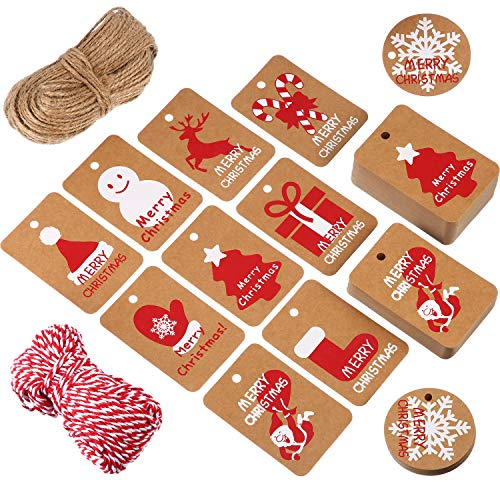 Tatuo 200 Pieces Kraft Paper Gift Tags Crafts Hang Label Holiday Tag in 10 Styles Christmas Patterns with 295 Feet Twine for Christmas Winter Theme Party Wedding Birthday Gift Wrapping -