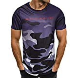 POTO Fashion Men's Summer Casual Short Sleeve Slim Camouflage Tee Shirts Top Blouse
