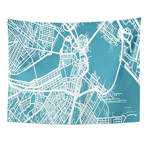 Emvency Tapestry Artwork Wall Hanging Massachusetts Detailed Map of Boston Scale 30 000 USA Street Airport Atlantic 60x80 Inches Tapestries Mattress Tablecloth Curtain Home Decor -