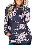 STYLEWORD Women's Hoodies Floral Printed Casual Long Sleeve Sweatshirt with Pocket(Floral-4,XL)