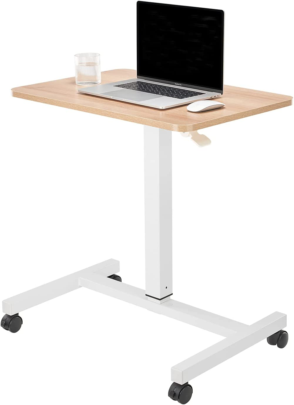 CLATINA Mobile Laptop Desk Pneumatic Sit to Stand Table Height Adjustable Rolling Cart with Lockable Wheels for Home Office Computer Workstation, 28 x 19 Inch Beige - Fidel