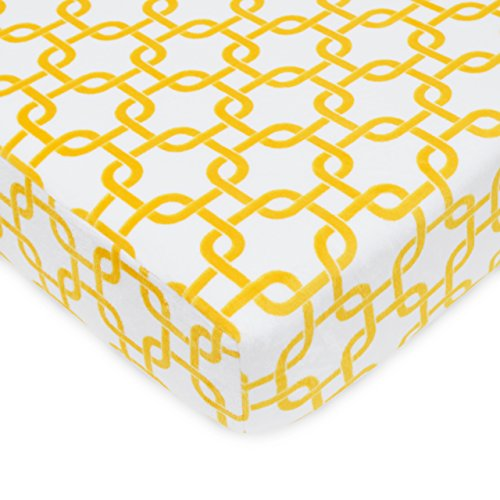 "TL Care Heavenly Soft Chenille Crib Sheet, Golden Yellow Gotcha, 28"" x 52"""