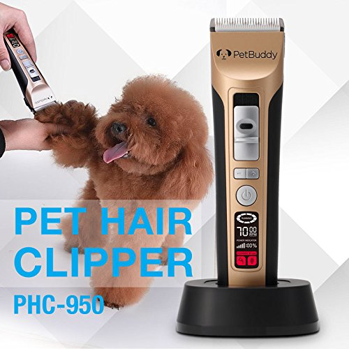 Professional 5 - Speed Pet Grooming Clippers by PETBUDDY - Quiet Heavy Duty Up To 7000 RPM Smart Intelligent LED Screen . Best Pet Grooming Kit for Dogs Cats and Horses with Thick Coat Long Short Hair (And Is Ceramic Advanced Clipper)