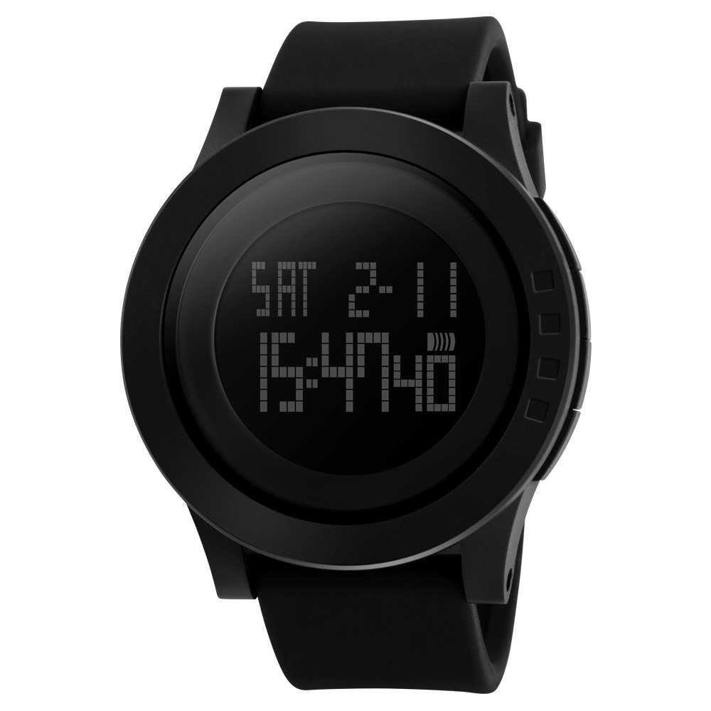 Men's Digital Sports Watch Military Wristwatch Dual Time Waterproof Casual Stopwatch Timer Athletic Workout Black by mylooverleo