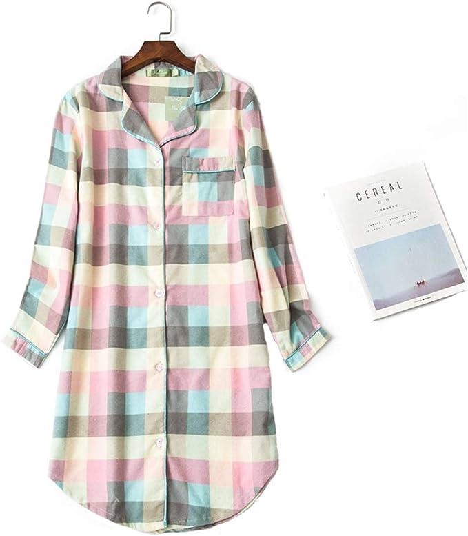 Misscoo Pijama de algodón para Mujer, Pijama con Botones de Manga ...
