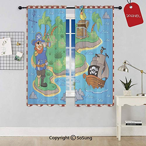 Funny Cartoon of Treasure Island with A Pirate Ship and Parrot Kids Play Room Rod Pocket Sheer Voile Window Curtain Panels for Kids Room,Kitchen,Living Room & Bedroom,2 Panels,Each 42x72 Inch,Multico