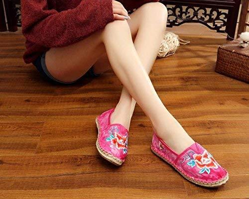 Willsego Bestickte Schuhe Sehnensohle Ethno-Stil weibliche Stoffschuhe Mode bequem bequem bequem lässig in der Erhöhung stieg rot 38 (Farbe   - Größe   -) be110b