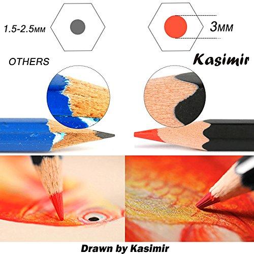 Colored Pencils Kasimir 48 Colored Pencils Set Non Toxic Lead Free with Pencil Extender Sharpener Knife Eraser for Artist Student Teacher Designer Children Drawing case