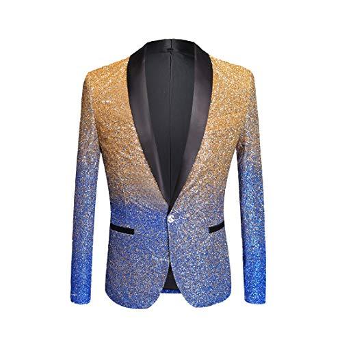 PYJTRL Mens Fashion Gradient Color Shiny Powder Blazer Suit Jacket (Royal Blue, US 38R)