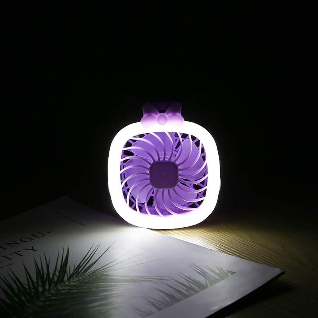 ZAQXSW USB Fan Cartoon kt Folding Small Fan Mini Handheld led Night Light Fan