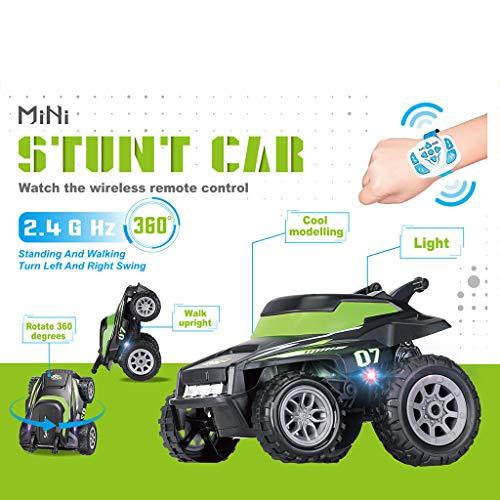 (Nivalkid Children's Remote Control Auto Car 2.4G Tumbling Stunt Dump truck Electric Stunt Car Watch Remote Control Dump Truck Wireless RC)