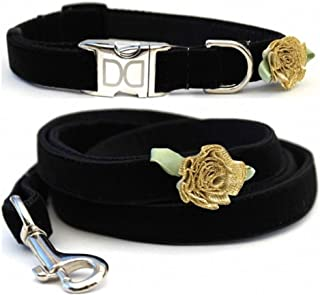 "product image for Diva-Dog 'A Formal Affair' Custom Small Dog 5/8"" Wide Velvet Dog Collar with Plain or Engraved Buckle, Matching Leash Available - Teacup, XS/S"