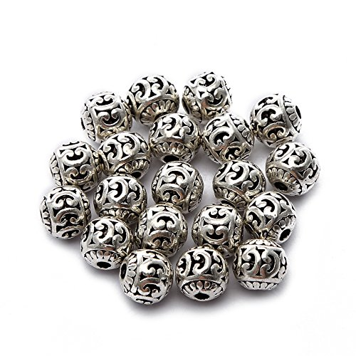 BRCbeads Top Quality 8mm Round Hollow Style #6 Tibetan Silver Metal Spacer Beads 20pcs per Bag For Jewelry Making Findings