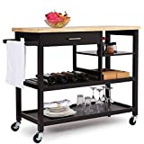 SONGMICS Rubber Wood Kitchen Island, Rolling Utility Cart With Drawer And  Lockable Wheels, Brown