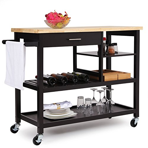 SONGMICS Rubber Wood Kitchen Island, Rolling Utility Cart with Drawer and Lockable Wheels, Brown, (Butcher Block Top Kitchen Cart)