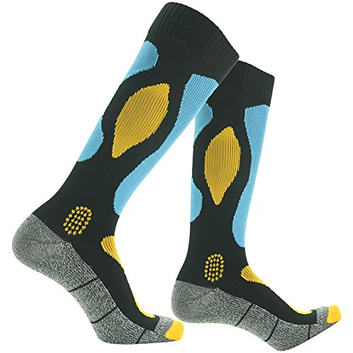 Waterproof Hiking Socks, [SGS Certified]RANDY SUN Men's Holiday Gift Skiing Super Cool Socks Blue&Black