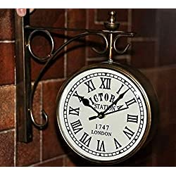 Antiques World Home Décor Collectible Art Old Victoria Station London Antique Vintage Style 1747 Double Face Wall Clock AWUSAWC 01