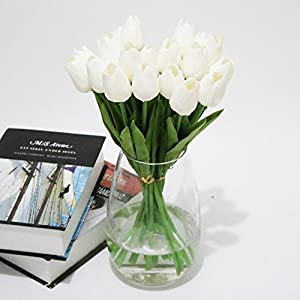 Smartcoco Artificial Tulip Silk Flowers Fake Flowers for Vintage Home Wedding Decor, Pack of 10 (White) 48