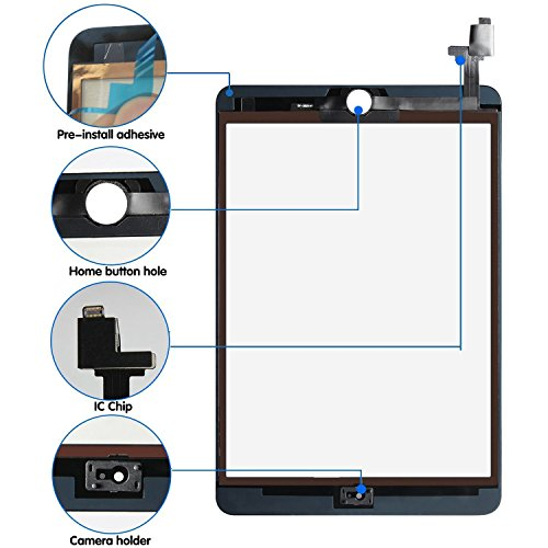 Srjtek Screen Replacement for IPad Mini 3 Touch Screen Digitizer A1599 A1600,Replacement Parts with IC Chip and Camera Holder(Black) by srjtek (Image #1)