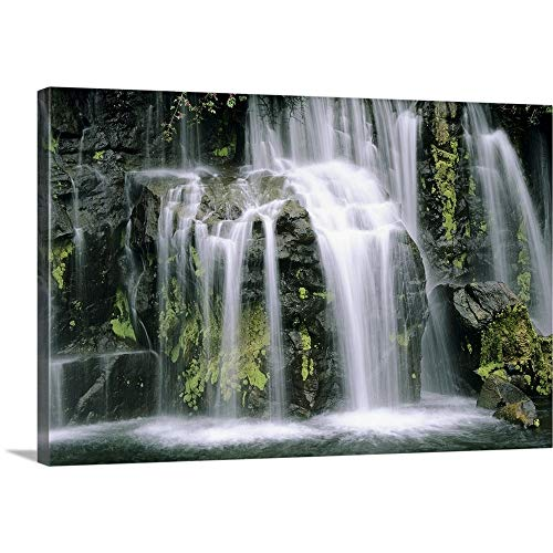 Hawaii, Maui, Closeup of Waterfall Cascading Motion Canvas Wall Art Print, 30
