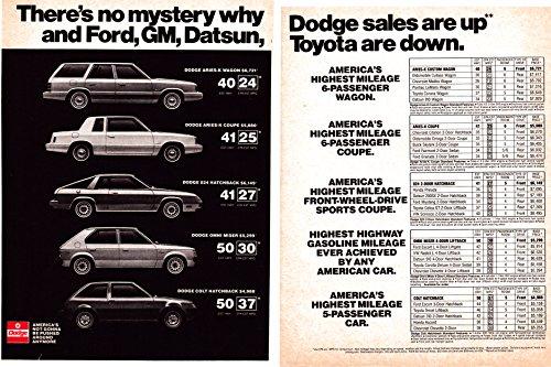 1980 Dodge Sales are UP Original 2 Page Magazine Ad Aries Hatchback Omni Colt