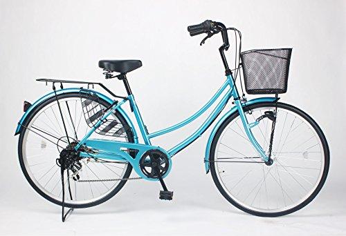 21Technology 26インチ自転車ママチャリ MCA266 オートライト シマノ製6段ギア付き (ブルー)