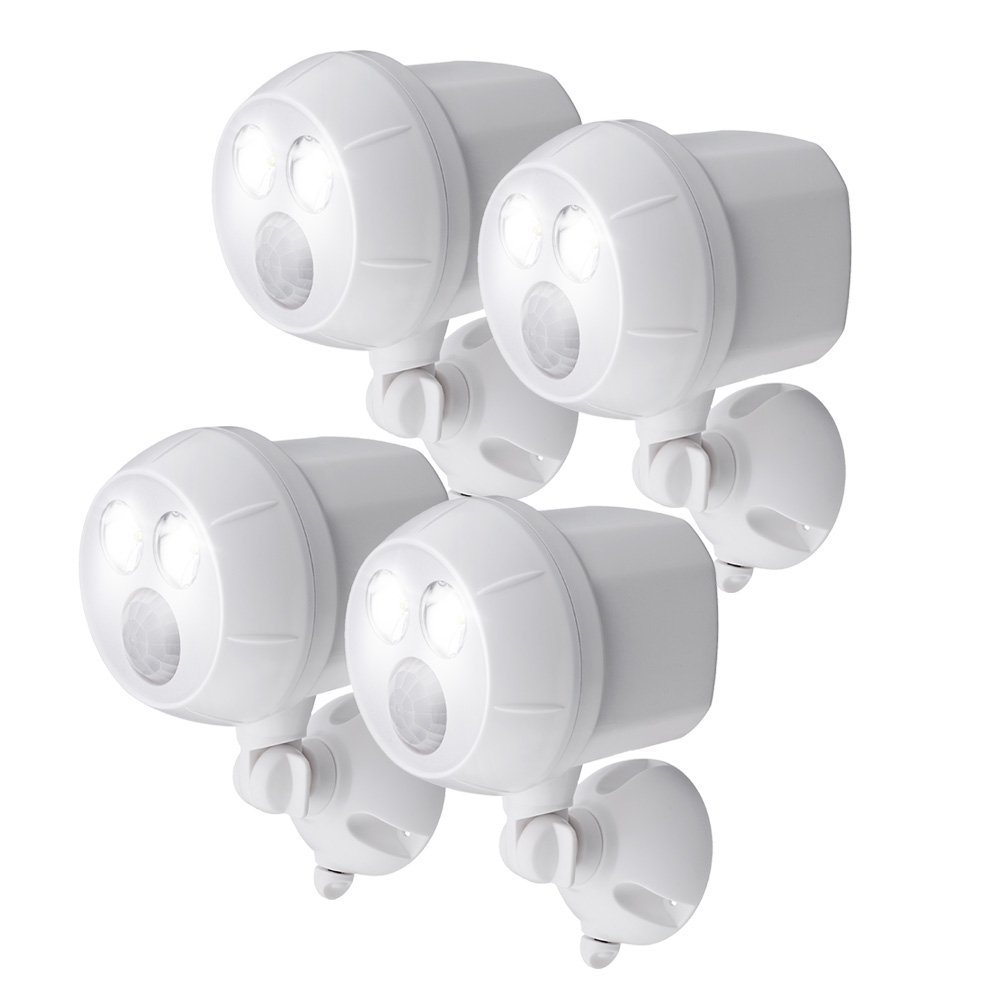 Mr. Beams MB384, 400 Lumen Version, Weatherproof Wireless Battery Powered Led Ultra Bright Spotlight with Motion Sensor, 4-Pack, White by Mr. Beams
