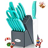 Knife Block Set, Kitchen Knife Set with Block, KYA24 14 Pieces Japanese Steel Knife Set, Knives Set with Block and in-Block Sharpener, with Steak Chef Knife Kitchen Scissor FDA Certified Turquoise