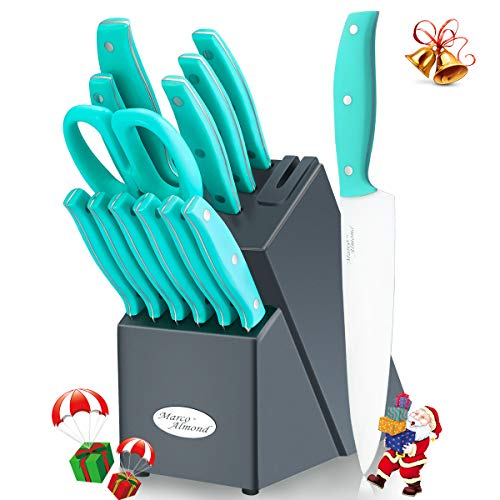 Knife Block Set, Kitchen Knife Set with Block, 14 Pieces Stainless Steel Knife Set, Knives Set with Block Wooden Built-in Knife Sharpener, with Steak Chef Knife Kitchen Scissor FDA Certified Turquoise