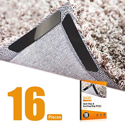 ZAMAT 16pcs Anti Slip Rug Gripper for Hardwood Floor, Ultra Sticky Carpet Gripper for Area Rugs, Reusable No Curling Rug Corner Gripper to Fix Rugs & Flat Corners, Double Sided Rug Tape with No Stain (Hardwood Floor Rugs Area Rugs Best)