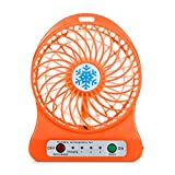 Vinjeely Portable Rechargeable LED Light Fan Air Cooler Mini Desk USB 18650 Battery Fan(Battery not included) (Orange)