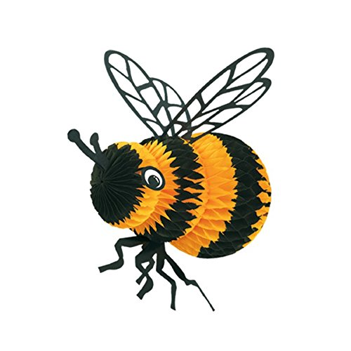 Club Pack of 12 Black and Yellow Honeycomb Bumble Bee Party Centerpiece Decorations 8''
