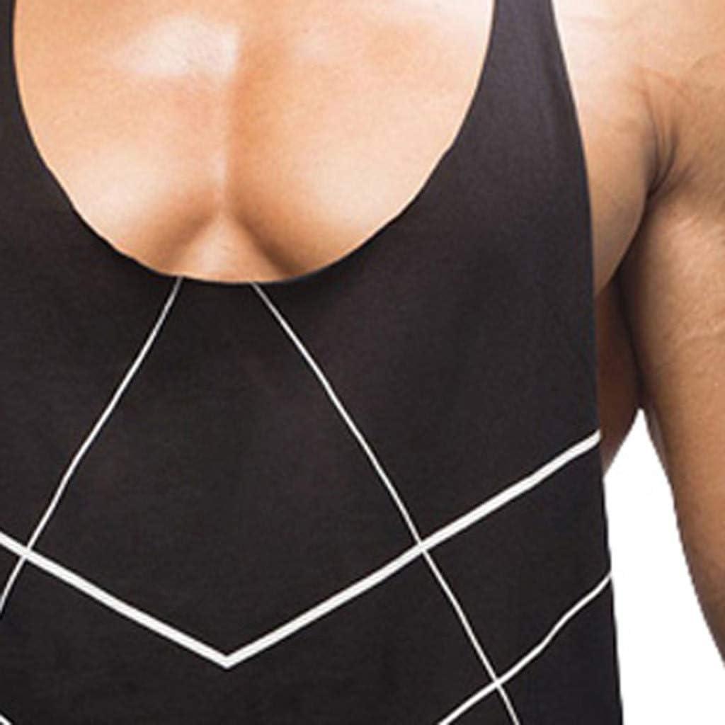 Yutao Mens Summer Euro-American Style Printing Sleeveless Leisure Sports Tanks Top Mens Graphic Funny T-Shirt