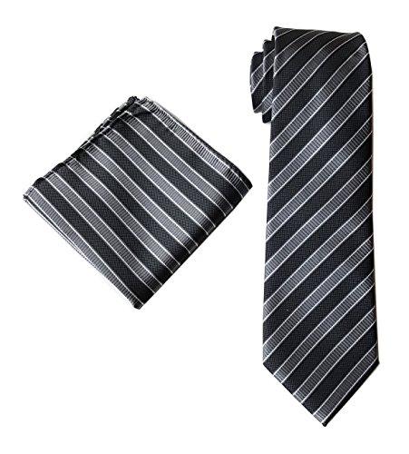 - Mens Repp Striped Grey Black Silk Tie Handkerchief Jacquard Woven Formal Necktie