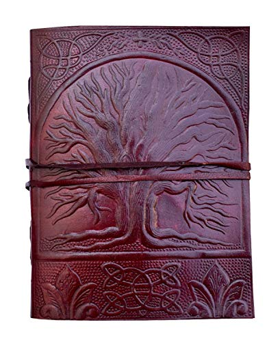 Pearl Leather Embossed Fair Trade Tree of Life Design Oak Tree Leather Blank Leather Journal Diary Notebook for Men Women 7x5 - Fair Leather Trade