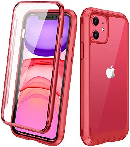 """DIACLARA Compatible with iPhone 11 Case, Full Body Rugged Case with Built-in Touch Sensitive Anti-Scratch Screen Protector, Soft TPU Bumper Case Compatible with iPhone 11 6.1"""" (Red and Clear)"""
