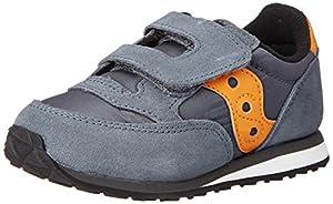 Saucony Jazz Hook & Loop Sneaker (Toddler/Little Kid),Grey/Orange,8 M US Toddler