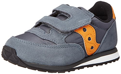 Saucony Jazz Hook & Loop Sneaker (Toddler/Little Kid),Grey/Orange,11 M US Little Kid