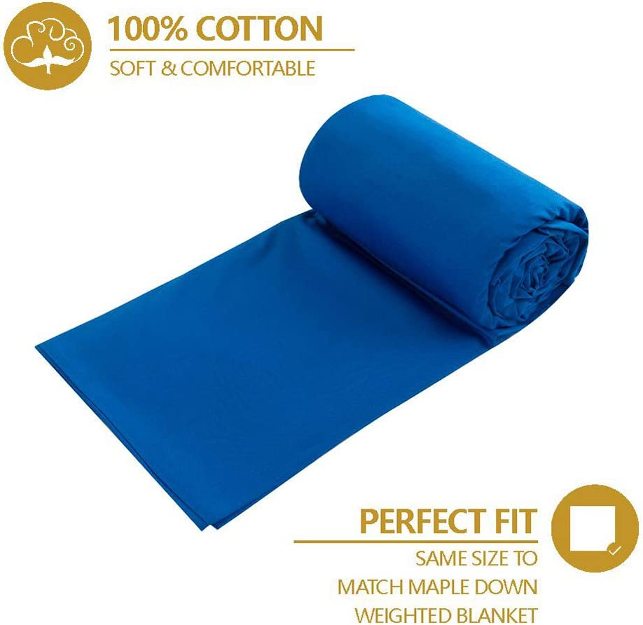 100/% Natural Cotton with Invisible Zipper Ties 60/×80 Blue Maple Down Weighted Blanket Cover