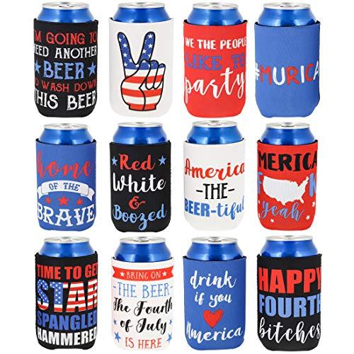 America Beer Can Sleeves - 12 Pack American Flag Patriotic Merica Freedom Party Coolers