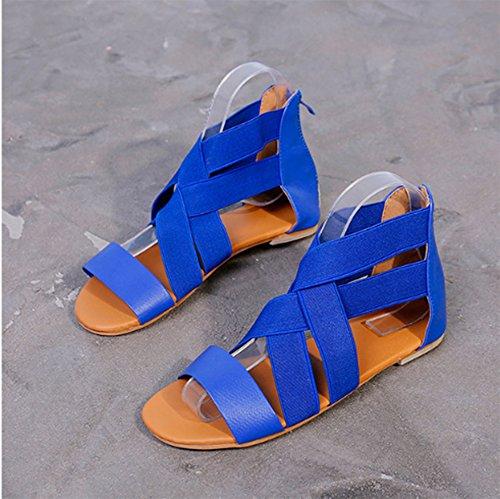 Sandales Chaussures Femmes Chaud Toe des Boho Mode Peep Bleu Nouvelles élastique de Plates Été Sangle fqrPEfw