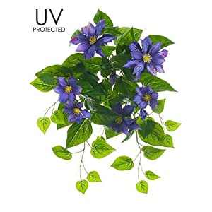"""Afloral UV Protected Outdoor Silk Clematis Bush in Purple - 20.5"""" Tall 10"""