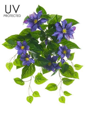 Afloral UV Protected Outdoor Silk Clematis Bush in Purple - 20.5