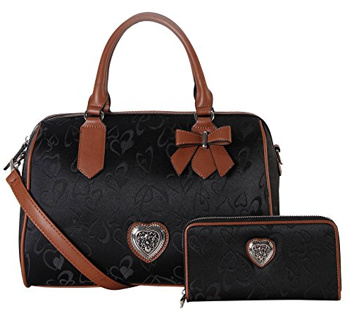 rimen-co-pu-leather-fabric-heart-print-pattern-tote-wallet-2-pieces-set-accented-with-bowknot-metal-