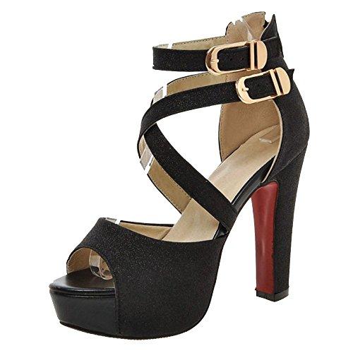 Black Femmes Mode Plateforme Talons Hauts Sandales Taoffen 4qwY6CndWq