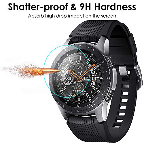 sale retailer 56035 7485a QIBOX Screen Protector Compatible Samsung Galaxy Watch 46mm & Gear S3,  Waterproof Tempered Glass Screen Protector Compatible Samsung Gear S3 &  Galaxy ...