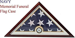 product image for Navy Flag Display Case Box, 5x9 Burial - Funeral - Veteran Flag Elegant Display