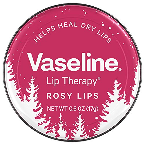 - Vaseline (1) Tin Lip Therapy Rosy Lips - Holiday/Christmas Limited Edition Pink & White Tin with Snowy Trees Design - Softens & Soothes Dry Lips with Sheer Tint 0.6 oz
