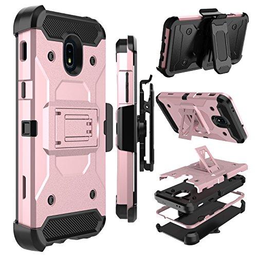 Galaxy J7 2018 Case, Galaxy J7 Refine Case, Zenic Heavy Duty Shockproof Hybrid Full-body Protection Case with Swivel Belt Clip and Kickstand for Galaxy J7 Aero / J7 Aura / J7 Star / J7 Eon (Rose Gold)
